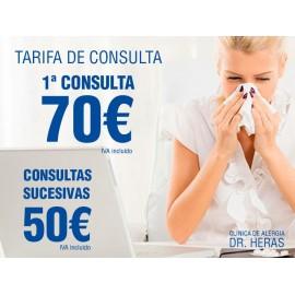 Tarifa de consulta en Clínica de Alergia